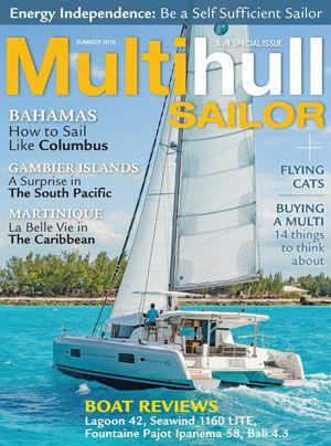 MultiHull Sailor magazine cover shot of sailboat.