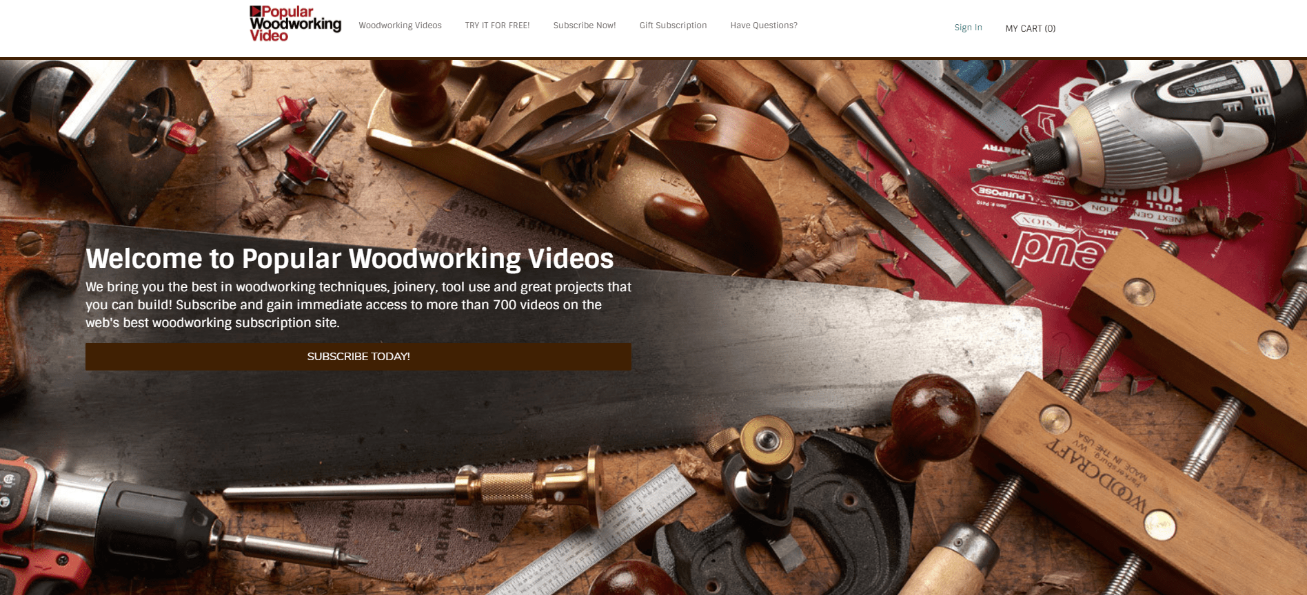Popular Woodworking Video Home Page screenshot