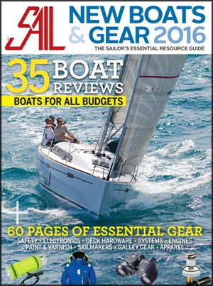 Sail magazine cover shot of sail boat and gear.