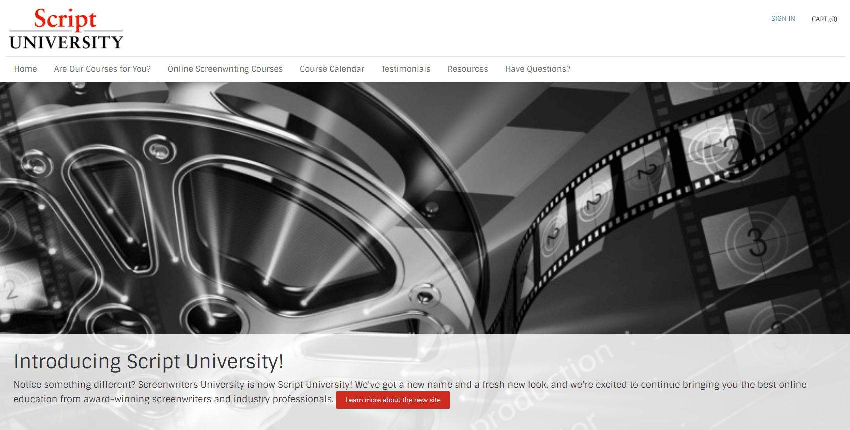 Script University Home Page screenshot