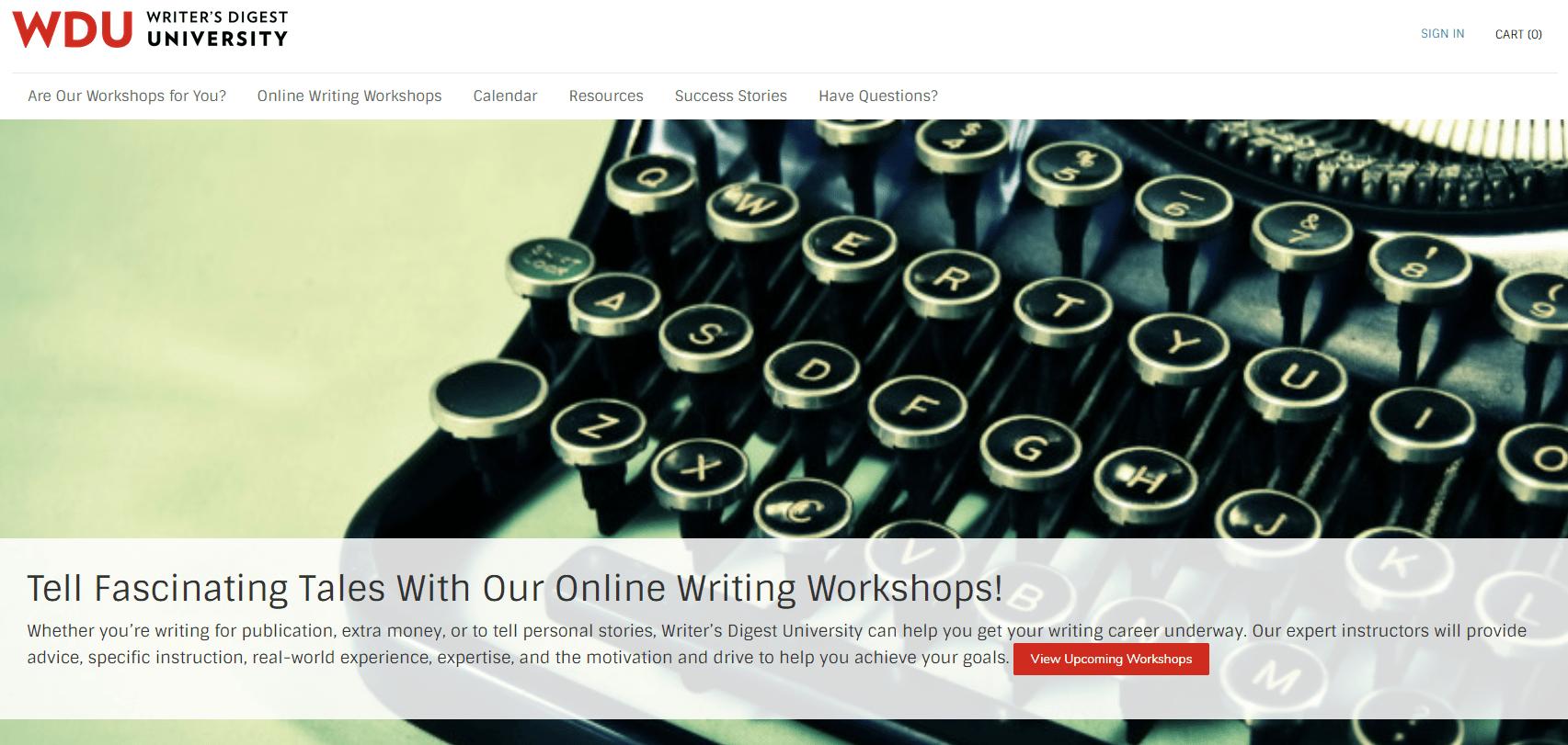 Writers Digest University Home Page screenshot