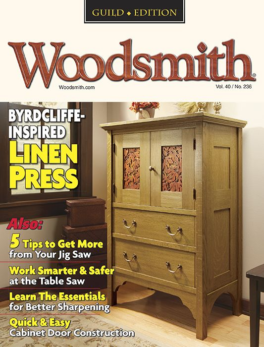 Woodsmith magazine cover shot of tall dresser.