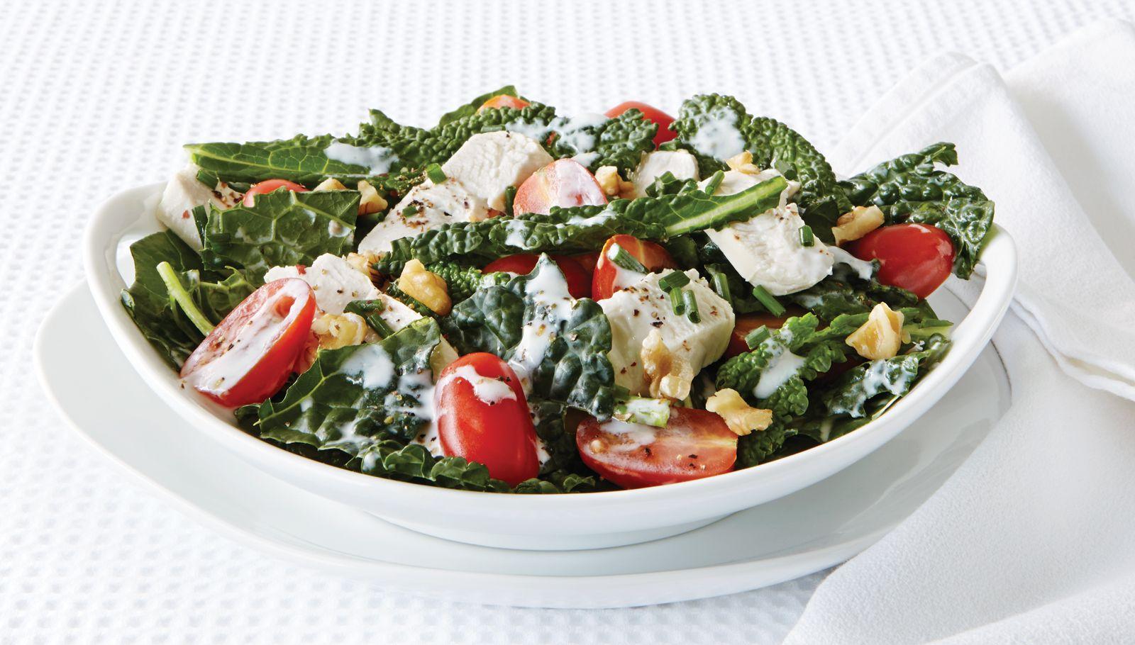 Bowl of Kale Caeaser salad.