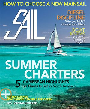 Sail magazine cover shot of sailboat in the Caribbean.