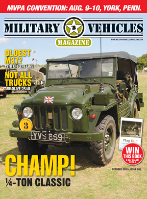 Military Vehicles magazine cover shot of military jeep.