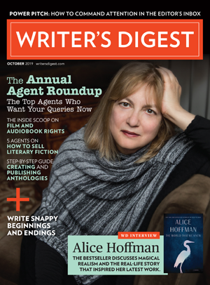 Writer's Digest magazine cover shot of Alice Hoffman.